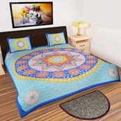 Sky Blue red and Cream Star design printed Bedsheet with 2 Pillow Covers