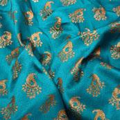 Sky blue and Golden Paisley Shape Brocade Silk Fabric-5315