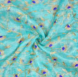 SkyBlue Golden Flower Organza Embroidery Fabric-22189