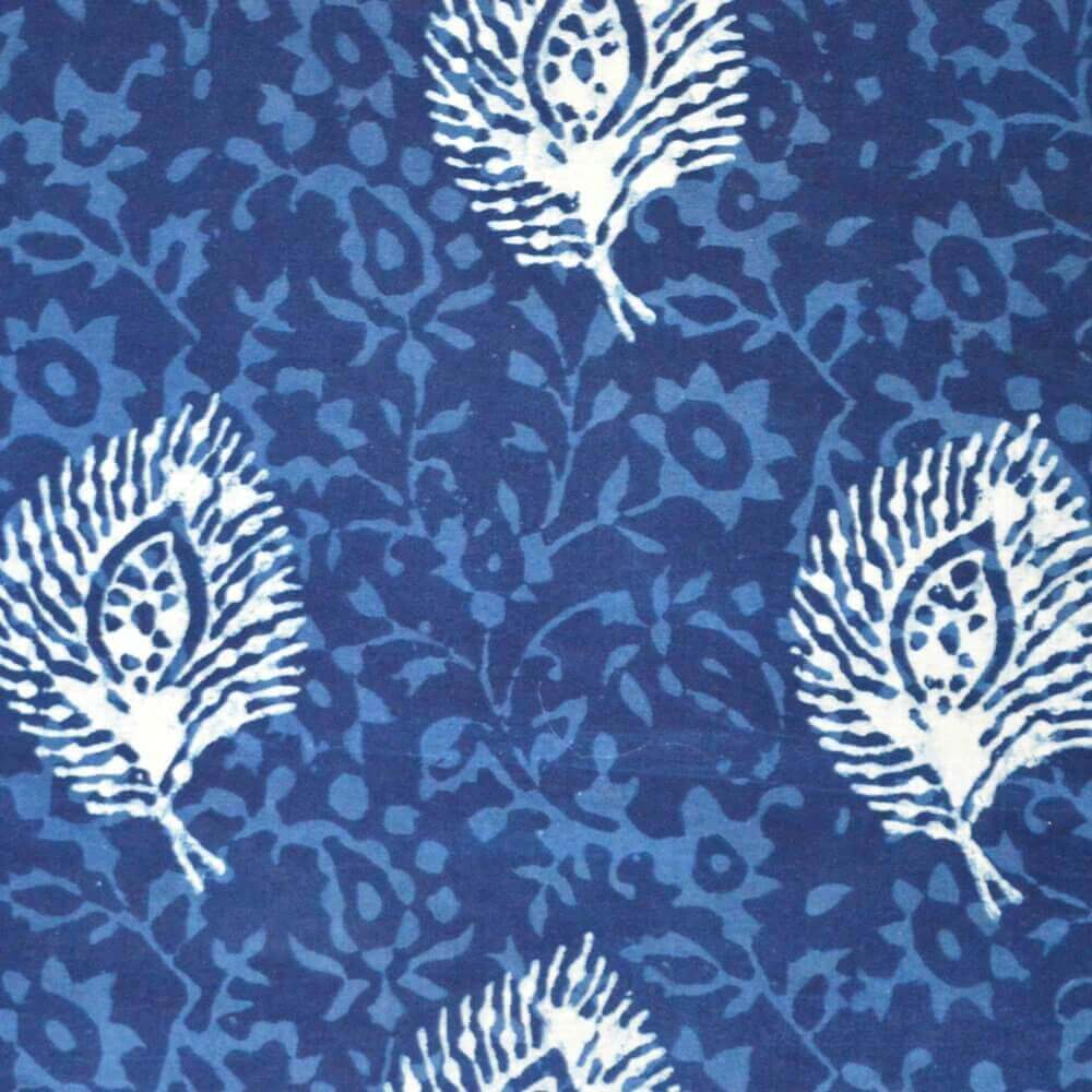 Traditional Indigo Block Print Cotton Fanric by the Yard