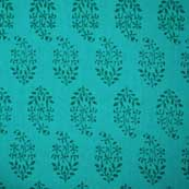 Turquoise Green Block Print Cotton Fabric