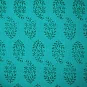 Turquoise Green Block Print Cotton Fabric