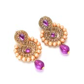 Violet and Cream Pearls and Gold Stone Earring for Women