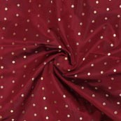 WIne Golden Polka Brocade Silk Fabric-9358