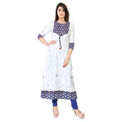 White 3/4 Sleeve Silver Animals Print Rayon Kurti-3121