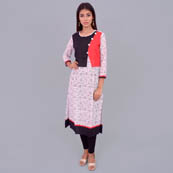 White And Black Rayon Kurti With Cape Style-22030