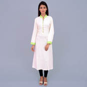 White And Green Rayon Kurti With Pocket Style-22012