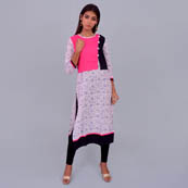 White And Pink Rayon Kurti With Cape Stlye-22026