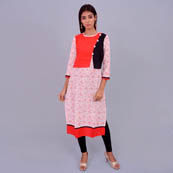 White And Red Rayon Kurti With Cape Style-22025