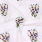 White Black Elephant Digital Print Cotton Slub Fabric-15113