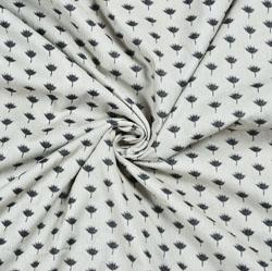 White Black Floral Block Print Cotton Fabric-28542