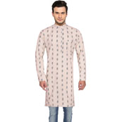 White Black Ikat Cotton Khadi Long Kurta-33179