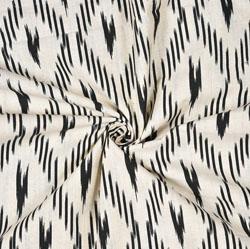 White Black Ikat Print Cotton Fabric-28567