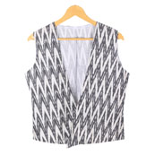 White Black Sleeveless Ikat Cotton koti jacket-12246