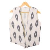 White Black Sleeveless Ikat Cotton koti jacket-12296
