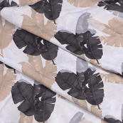 White-Black and Cream Leaf Silk Crepe Fabric-18113