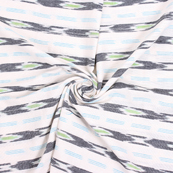 White-Black and Green Cotton Ikat Fabric-12166