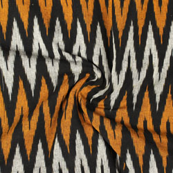 White Black and Orange Ikat Cotton Fabric-11023