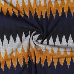 White Black and Orange Ikat Cotton Fabric-11058