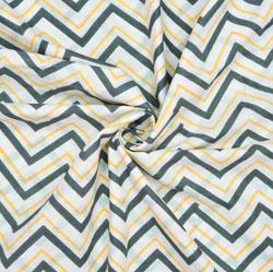 White Black and Orange Ikat Cotton Fabric-28624