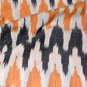 White-Black and Orange Zig-Zag Shape Ikat Fabric-5718