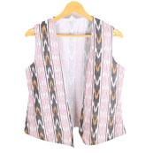 c875a43423522 White-Black and Pink Cut Sleeve Ikat Cotton Koti Jacket-12223