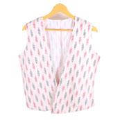 White-Black and Pink Cut Sleeve Ikat Cotton Koti Jacket-12230