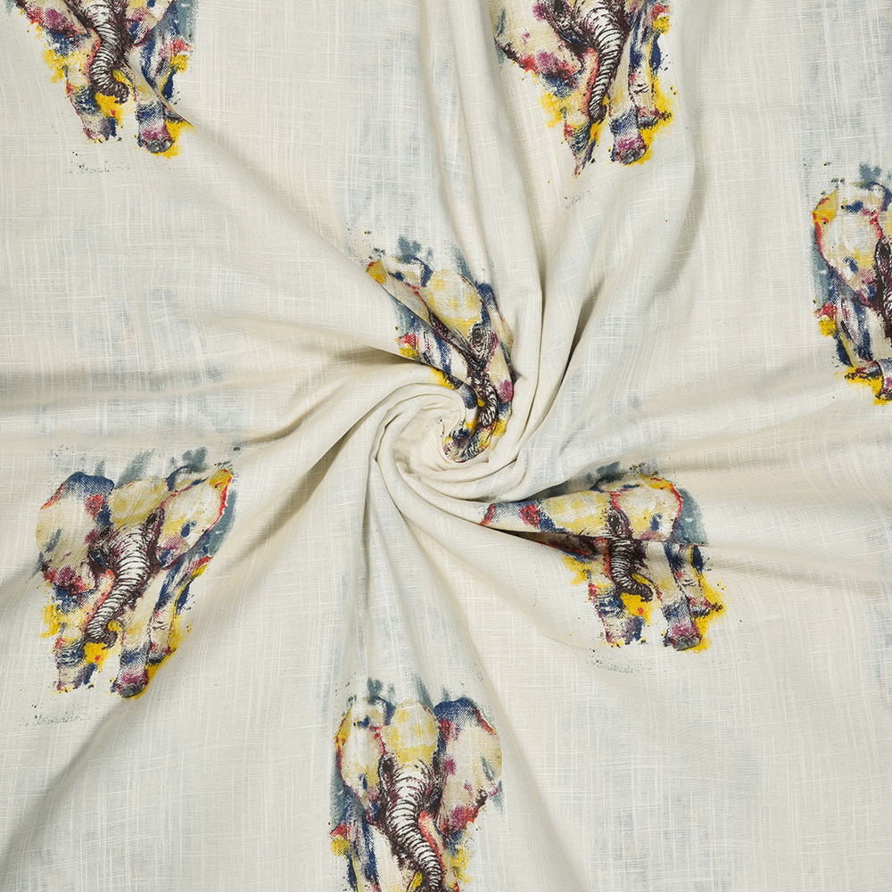 White Blue Animal Rayon Fabric-16230