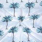 White Blue Block Print Cotton Fabric-14698