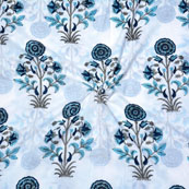 White Blue Block Print Cotton Fabric-14707