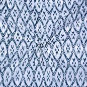 White Blue Block Print Cotton Fabric-14738