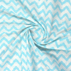 White Blue Block Print Cotton Fabric-16056
