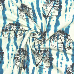 White Blue Block Print Cotton Fabric-16088
