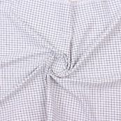 White Blue Check Handloom Khadi Cotton Fabric-40758