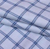 White Blue Checks Wool Fabric-90095