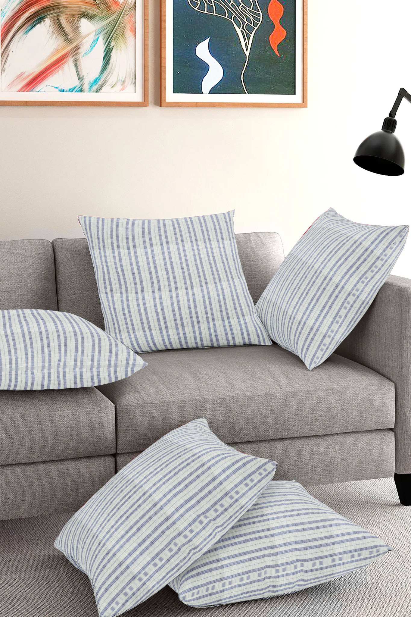 Set of 5-White Blue Cotton Cushion Cover-35402-16x16 Inches