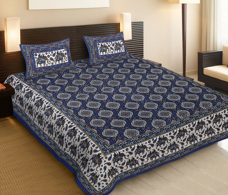 White Blue Cotton Jaipuri Bedsheet-531