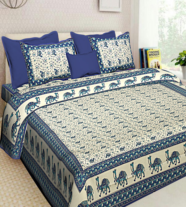 White Blue Cotton Jaipuri Bedsheet-622