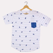 White Blue Cotton Pineapple-Taxi-Camera T-shirt-33377