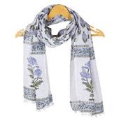 White Blue Floral Cotton Block Print Dupatta With Pom Pom-33123