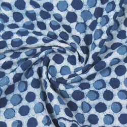 White Blue Indigo Block Print Cotton Fabric-16179