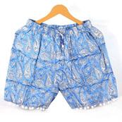 White Blue Paisley Cotton Block Print Short-14647