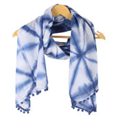 White Blue Shibori Cotton Block Print Dupatta With Pom Pom-33102