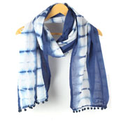 White Blue Shibori Cotton Block Print Dupatta With Pom Pom-33113