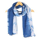 White Blue Shibori Cotton Block Print Dupatta With Pom Pom-33117