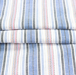 White Blue Stripe Cotton Fabric-42399