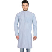 White Blue Stripes Handloom Long Kurta-33154