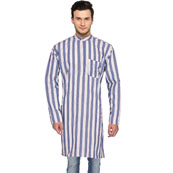 White Blue Stripes Handloom Khadi Long Kurta-33181