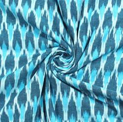 White Blue and Cyan Ikat Cotton Fabric-11006