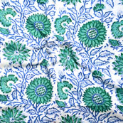 White Blue and Green Block Print Cotton Fabric-14635